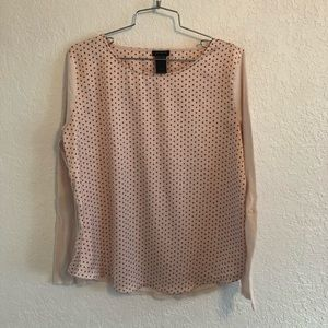 Ann Taylor spotted long sleeve blouse